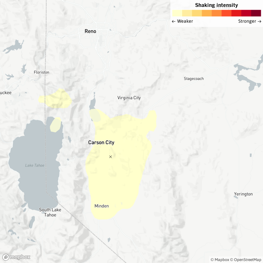 Map of earthquake in Carson City, Nev.