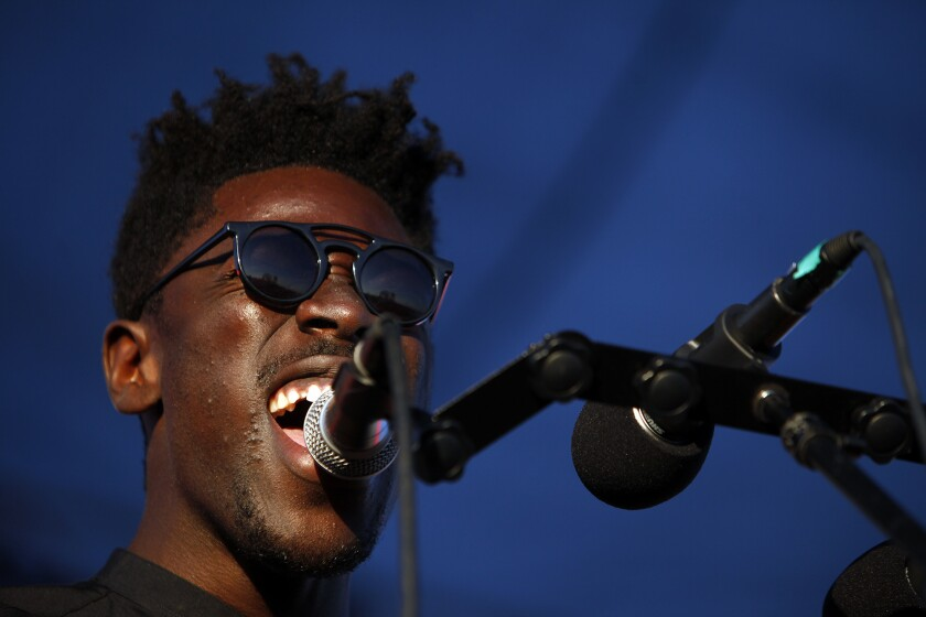 SANTA MONICA, CA - SEPTEMBER 26, 2014 -- Moses Sumney performs during The Way Over Yonder concert on