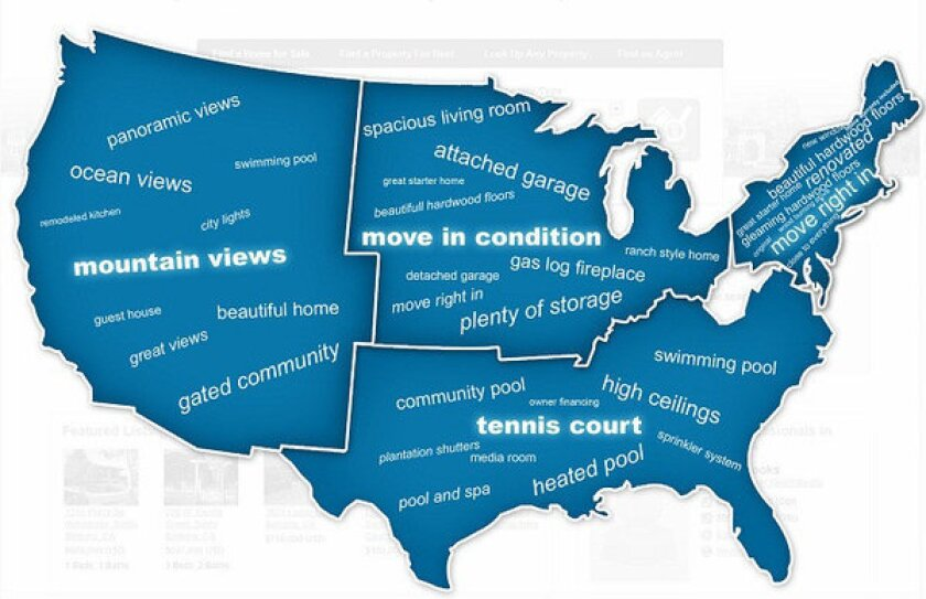 """West Coast home listings are more likely to use """"panoramic views,"""" """"""""city lights"""" and """"remodeled kitchen."""""""