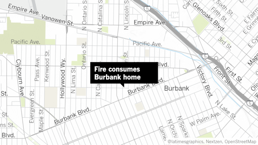 A family dog died on Saturday in Burbank after a fire consumed a home in the 1300 block of North Brighton Street, according to the Burbank Fire Department.
