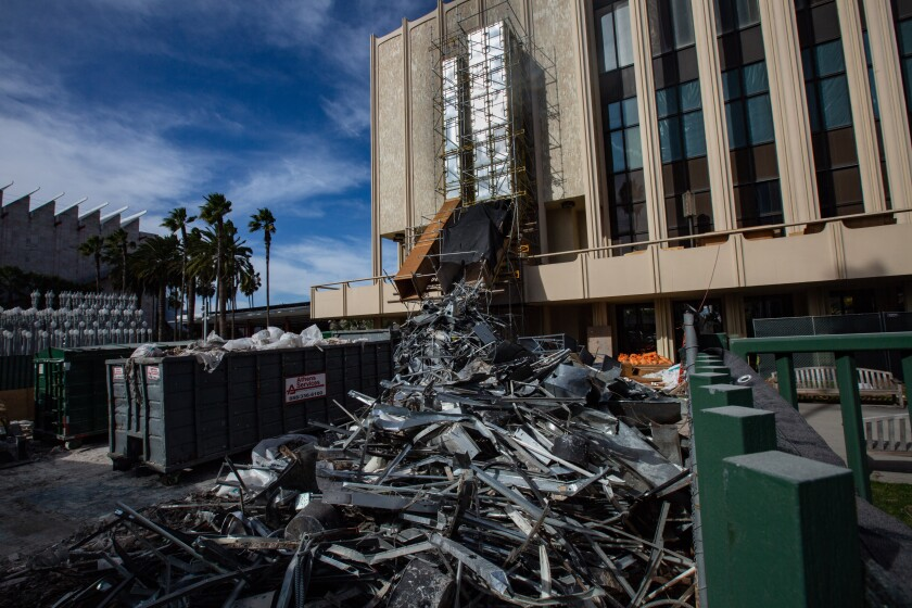 Asbestos abatement begins on buildings at LACMA as the museum prepares for demolition.