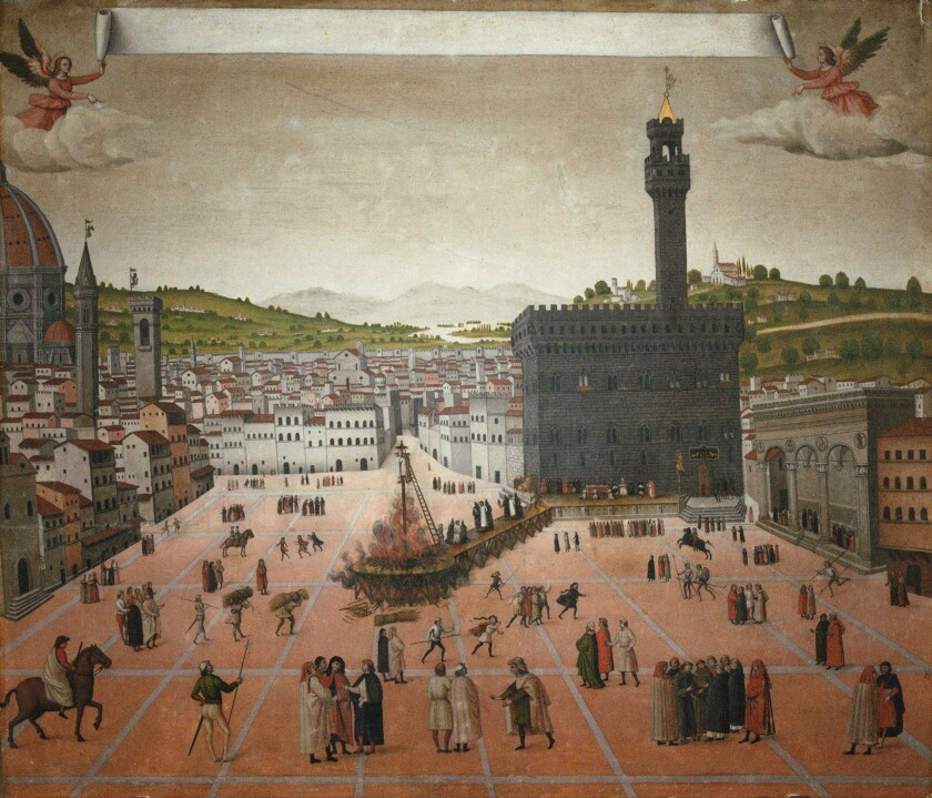 Girolamo Savonarola's execution on the Piazza della Signoria in Florence in 1498. Found in the collection of San Marco, Florence.