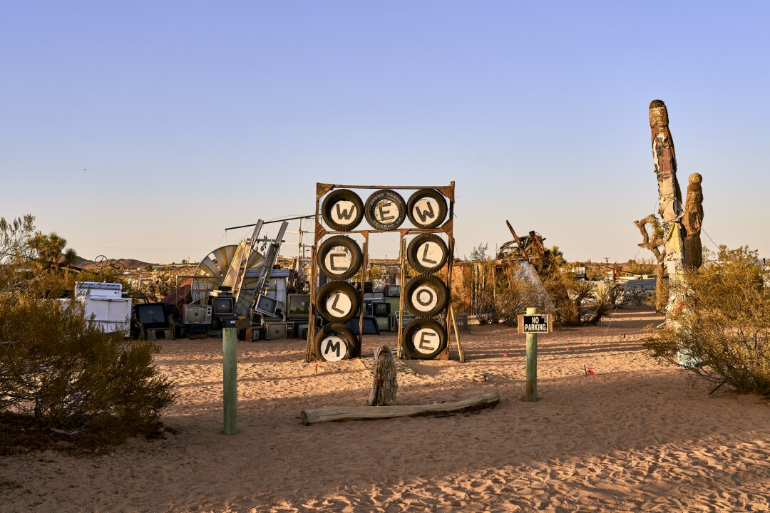 """""""Untitled (Welcome Sign), 1998"""", at the Noah Purifoy Outdoor Desert Art Museum."""