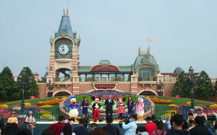 A reopening ceremony at Shanghai Disneyland on Monday.