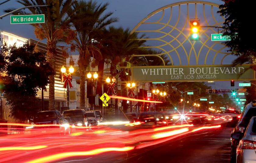 An artistic photo of nighttime traffic on Whittier Boulevard.