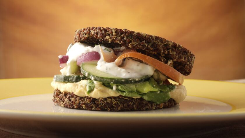 Inside out quinoa burger adapted from True Food Kitchen.