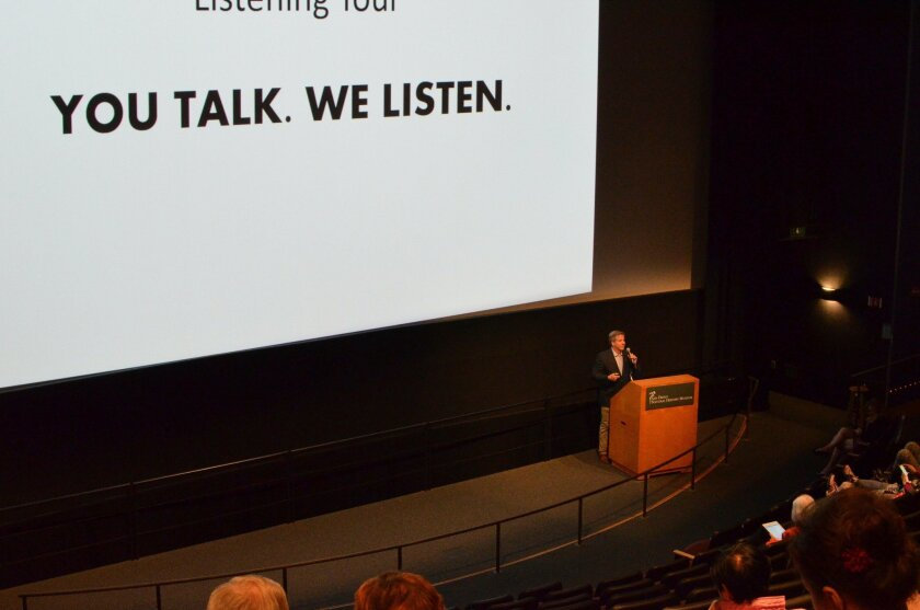 San Diego Opera General Director David Bennett leads an audience participation forum Thursday in Balboa Park, where subscribers and opera-goers were invited to share their thoughts on the conmpany's future via interactive smartphone polling.