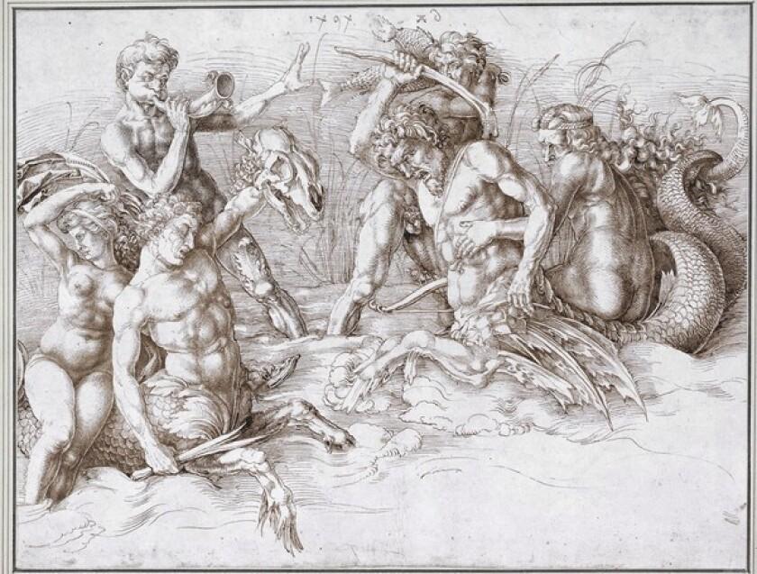 """Albrecht Dürer's """"Battle of the Sea Gods (After Mantegna)""""; 1494; pen and brown ink."""