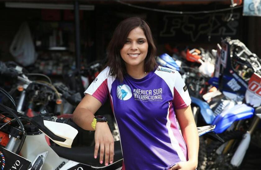 Gianna Velarde, seen here in an interview with EFE, is set to become the first Peruvian woman to compete in the Dakar Rally in the motorcycle category, an enormous challenge she could never have imagined when at age 15 she rode a motorcycle for the fist time - and there found the strength to overcome cancer. EFE-EPA/Ernesto Arias