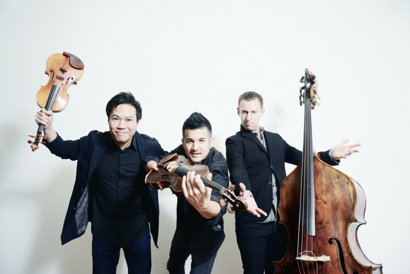 Time for Three performs at La Jolla Music Society's SummerFest Under the Stars free outdoor concert, Aug. 3.