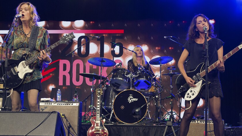 The Bangles perform Sunday at KAABOO Del Mar. From left are band members Vicki Peterson, Debbi Peterson, and Susanna Hoffs.