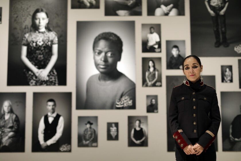 Shirin Neshat stands before an installation of her work at the Broad museum.