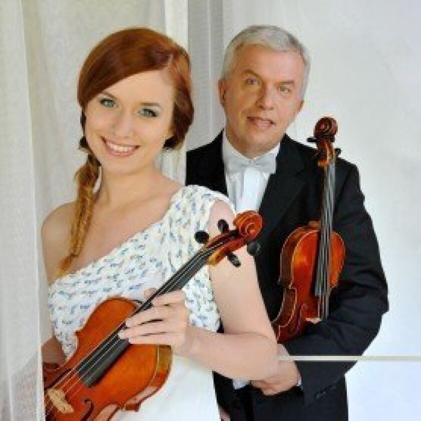 Violinists Julie Svecená and her father, Jaroslav Svecený, will perform Oct. 27 at the Village Church.