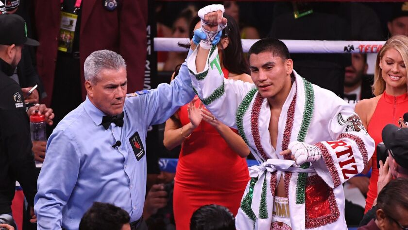 Vergil Ortiz Jr. celebrates his knockout win over Mauricio Herrera following their welterweight fight on May 4 in Las Vegas.