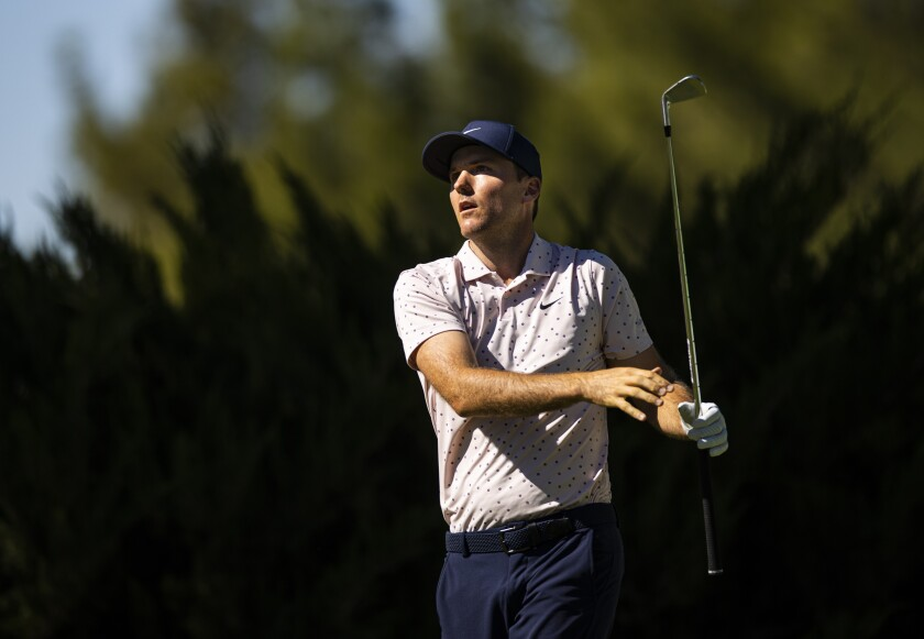 Russell Henley tees off at the fifth hole during the third round of the CJ Cup golf tournament at Shadow Creek Golf Course, Saturday, Oct. 17, 2020, in North Las Vegas. (Chase Stevens/Las Vegas Review-Journal via AP)