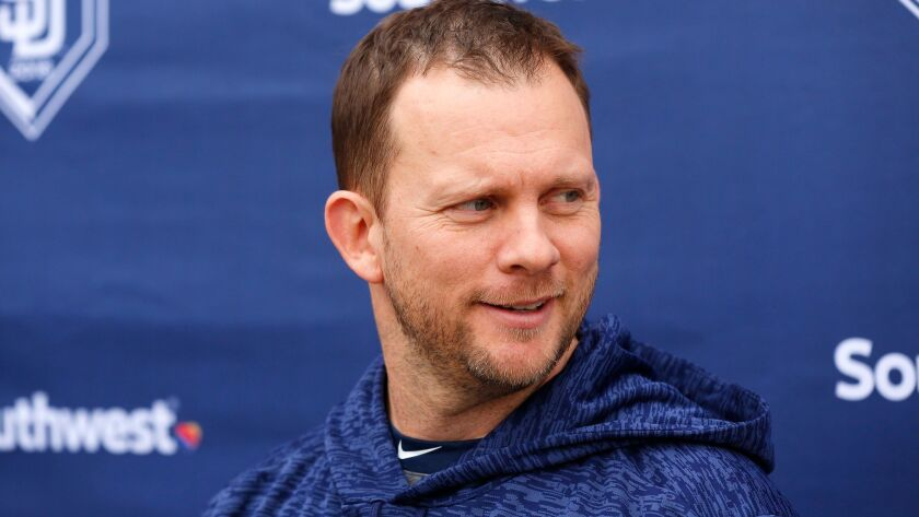 San Diego Padres manager Andy Green talks to the media during spring training in Peoria on Feb. 14, 2018. (Photo by K.C. Alfred/ San Diego Union -Tribune)