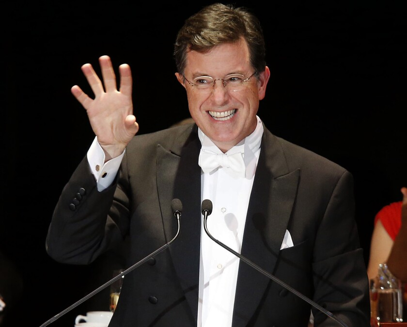 Stephen Colbert delivers the keynote address during the Alfred E. Smith Memorial Foundation Dinner in 2014.