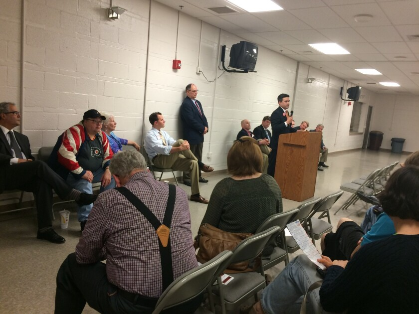 Candidates for GOP delegate speak at a tea party forum at a firehouse in Pennsylvania's York County.