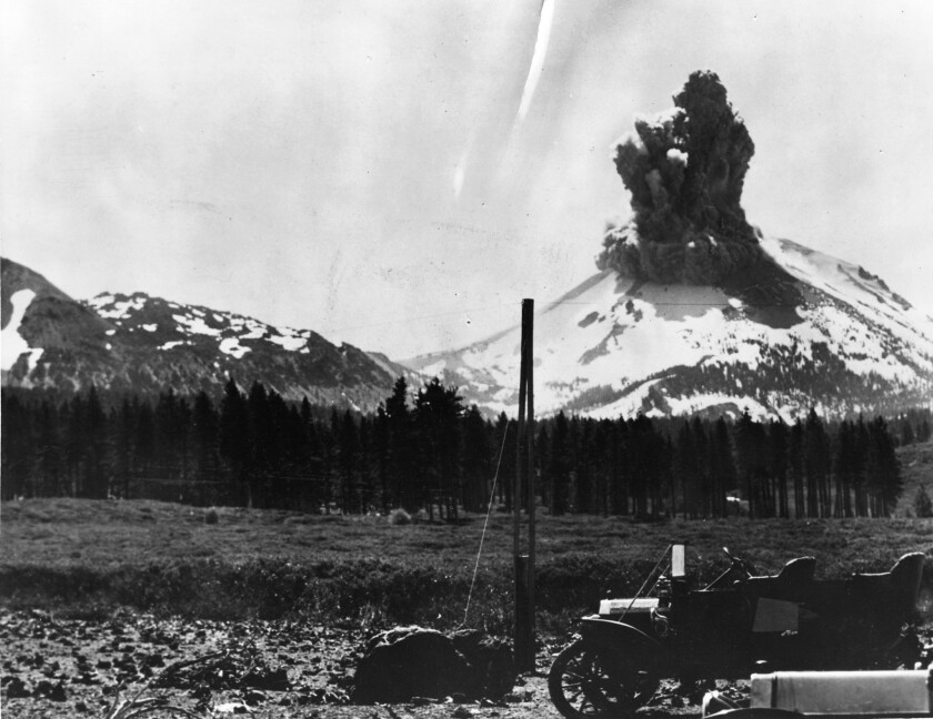 An eruption at Mt. Lassen in 1915