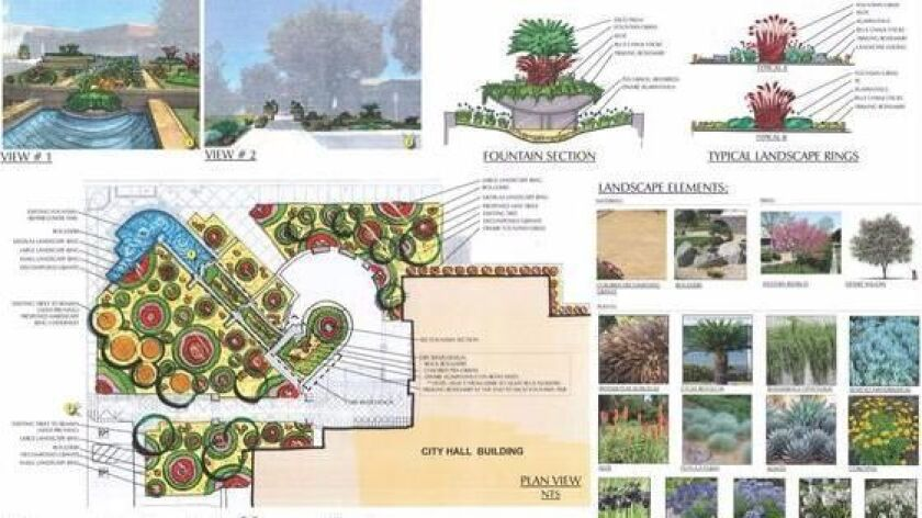 """The """"Modern Reflection"""" concept for the Fountain Valley City Hall fountain shows plants that mimic w"""
