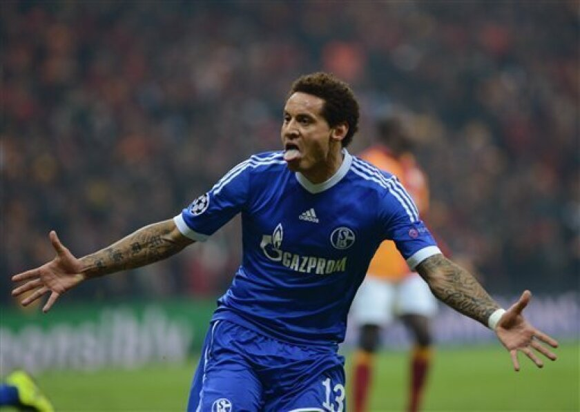 FC Schalke 04's Jermaine Jones celebrates his goal against Galatasaray during their Champions League round of 16 first leg soccer match at the TT Arena Stadium in Istanbul, Turkey, Wednesday Feb. 20, 2013. (AP Photo)