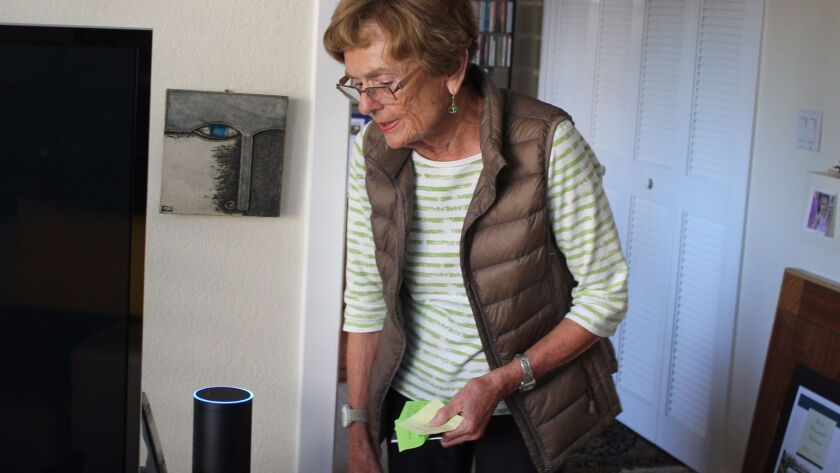Barbara Stabenau, 82, bought an Amazon Echo, which is activated by voice commands, to play her music