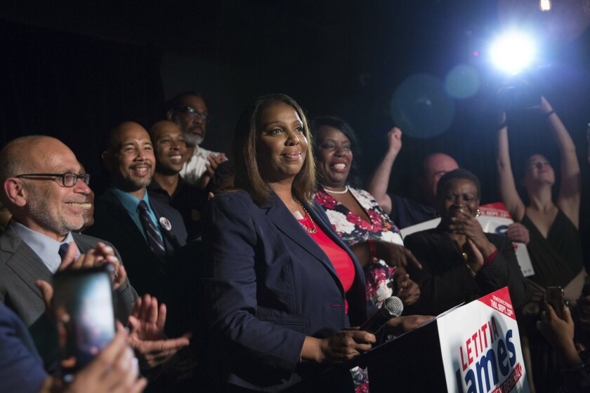 Letitia James (c.) delivers a victory speech after winning the primary election for attorney general on Sept. 13, 2018, in New York.