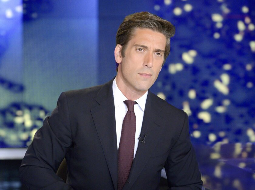 "In this image released by ABC News, anchor David Muir from ""World News Tonight with David Muir,"" appears on the set in New York. ABC's ""World News"" beat NBC's ""Nightly News"" in viewership last week, only a month after David Muir took over as anchor from Diane Sawyer. NBC's Brian Williams-led newscast had ruled for 263 consecutive weeks, a streak that began in September 2009, and for 310 of the past 311 weeks. Last week ABC's broadcast averaged 8.42 million viewers, while NBC had 8.25 million, the Nielsen company said. (AP Photo/ABC, Lorenzo Bevilaqua)"