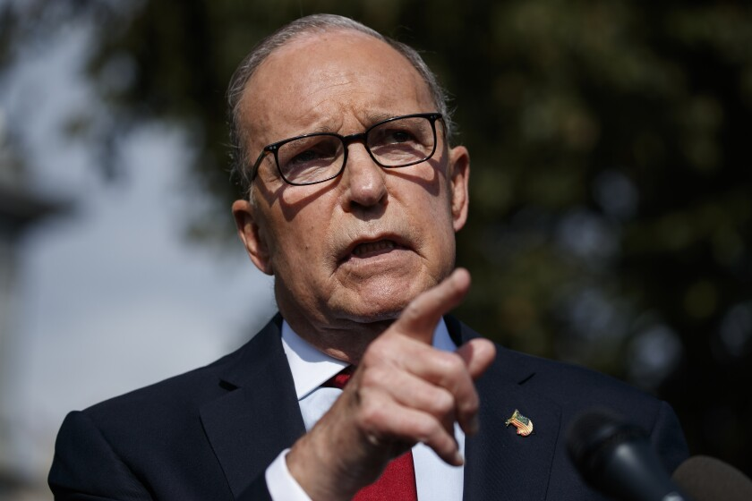 White House economic advisor Larry Kudlow, shown Oct. 7, confirmed Thursday that U.S.-China trade negotiations have advanced.