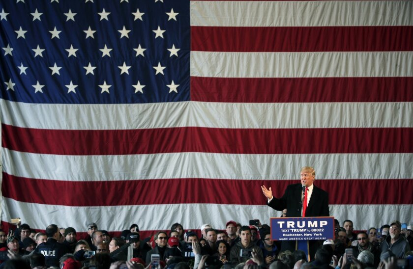 Republican presidential candidate Donald Trump speaks during a rally at JetSmart Aviation Services on Sunday, April 10, 2016, in Rochester, N.Y. (AP Photo/Mike Groll)