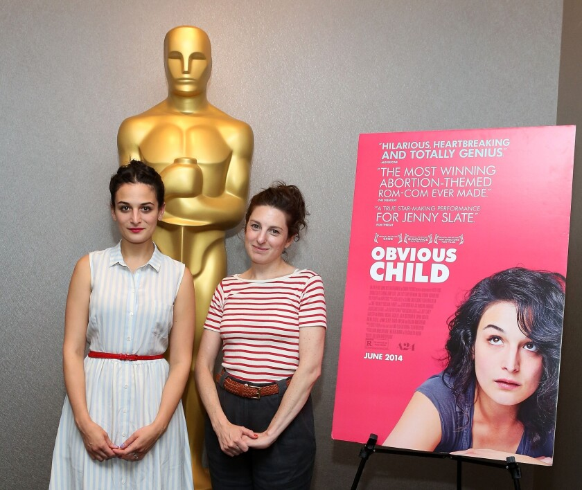 "Jenny Slate, left, and Gillian Robespierre attend The Academy Of Motion Picture Arts And Sciences' screening Of ""Obvious Child"" in New York City."