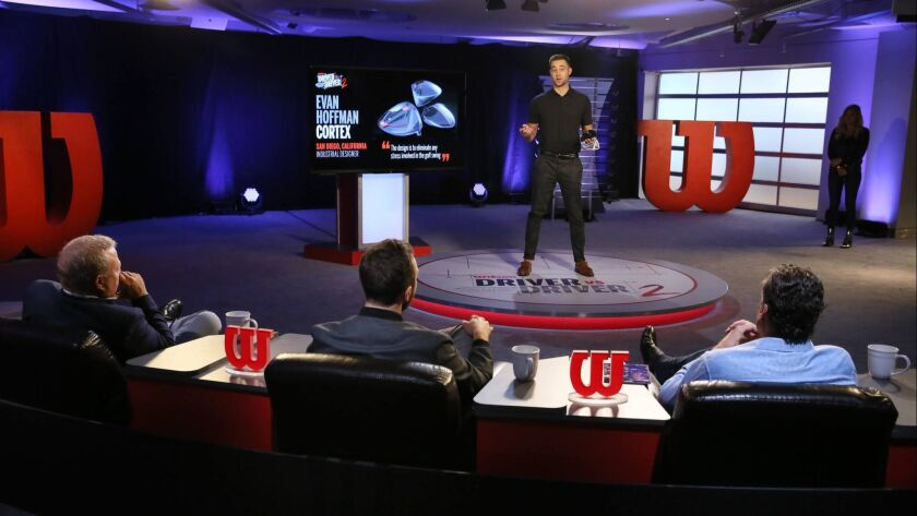 """San Diegan Evan Hoffman makes the pitch for his Cortex driver to the judges on """"Driver vs. Driver 2."""""""