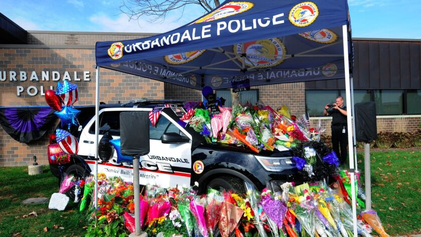 A memorial outside the Urbandale, Iowa, Police Department.
