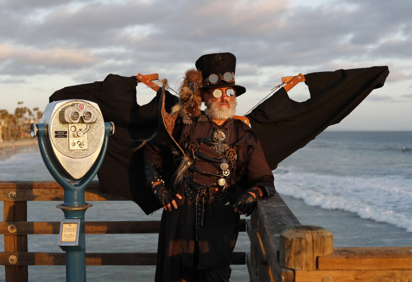 Dean LeCrone as Dr. Artemus Peepers, cosplaying at the Oceanside pier, with his companion Driggon the Drabbit.