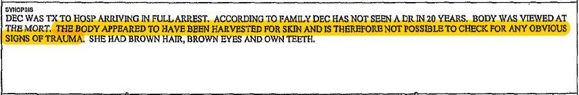 An excerpt from Edita Pickel's autopsy report.