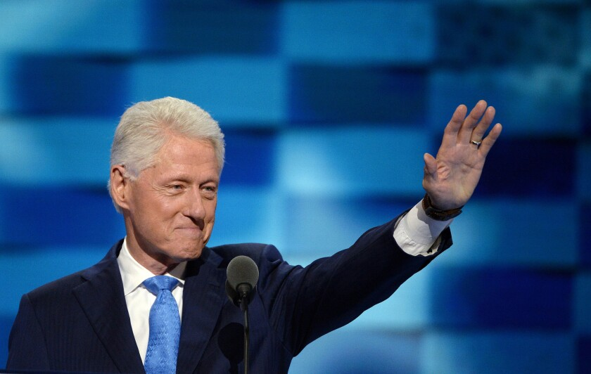 Former President Bill Clinton addresses the Democratic National Convention on Tuesday.