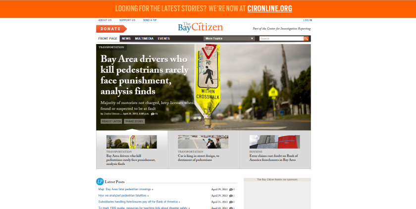 A June 24 screenshot of the Bay Citizen website's home page (www.baycitizen.org) shows posts from April of 2013.