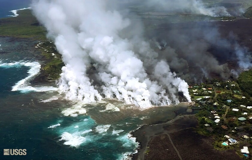 This image taken from video on Monday, June 4, 2018, and provided by the U.S. Geological Survey show