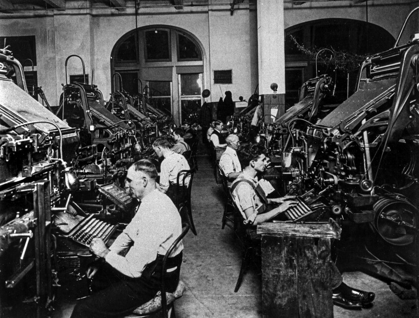 Linotype machines on the fourth-floor composing room of the Los Angeles Times building dedicated on Dec. 4, 1912.