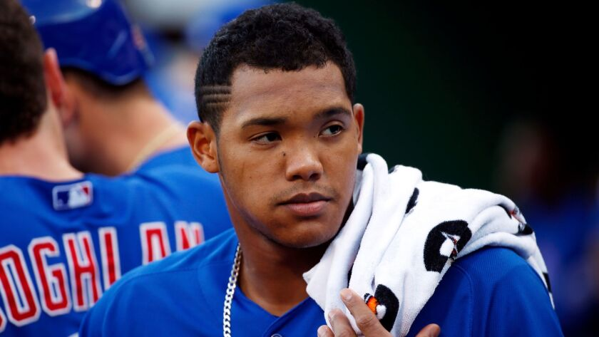 Chicago Cubs shortstop Addison Russell in the dugout on Aug. 4, 2015.