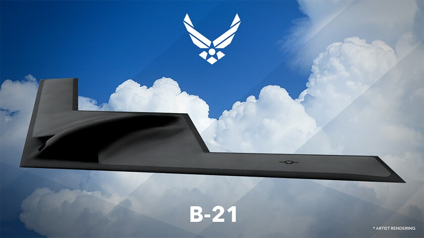 An artist's rendering of the B-21 Long Range Strike Bomber.