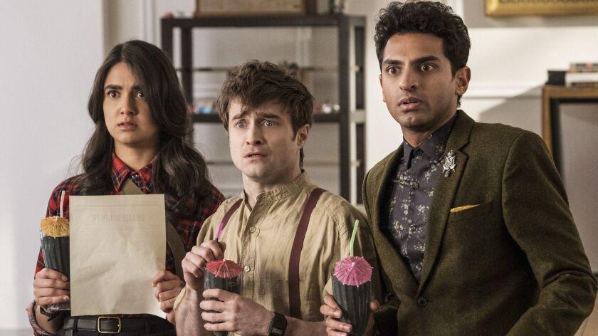 """Miracle Workers"" Ep 105 (L-R) - Geraldine Viswanathan, Daniel Radcliffe and Karan Soni in Episode"