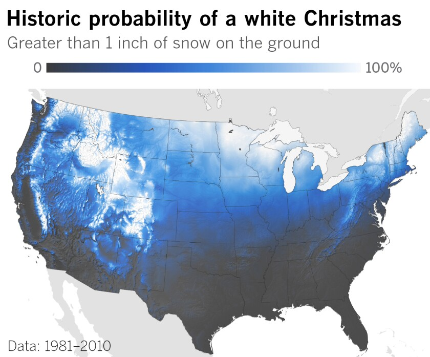 Historic probability of a white Christmas