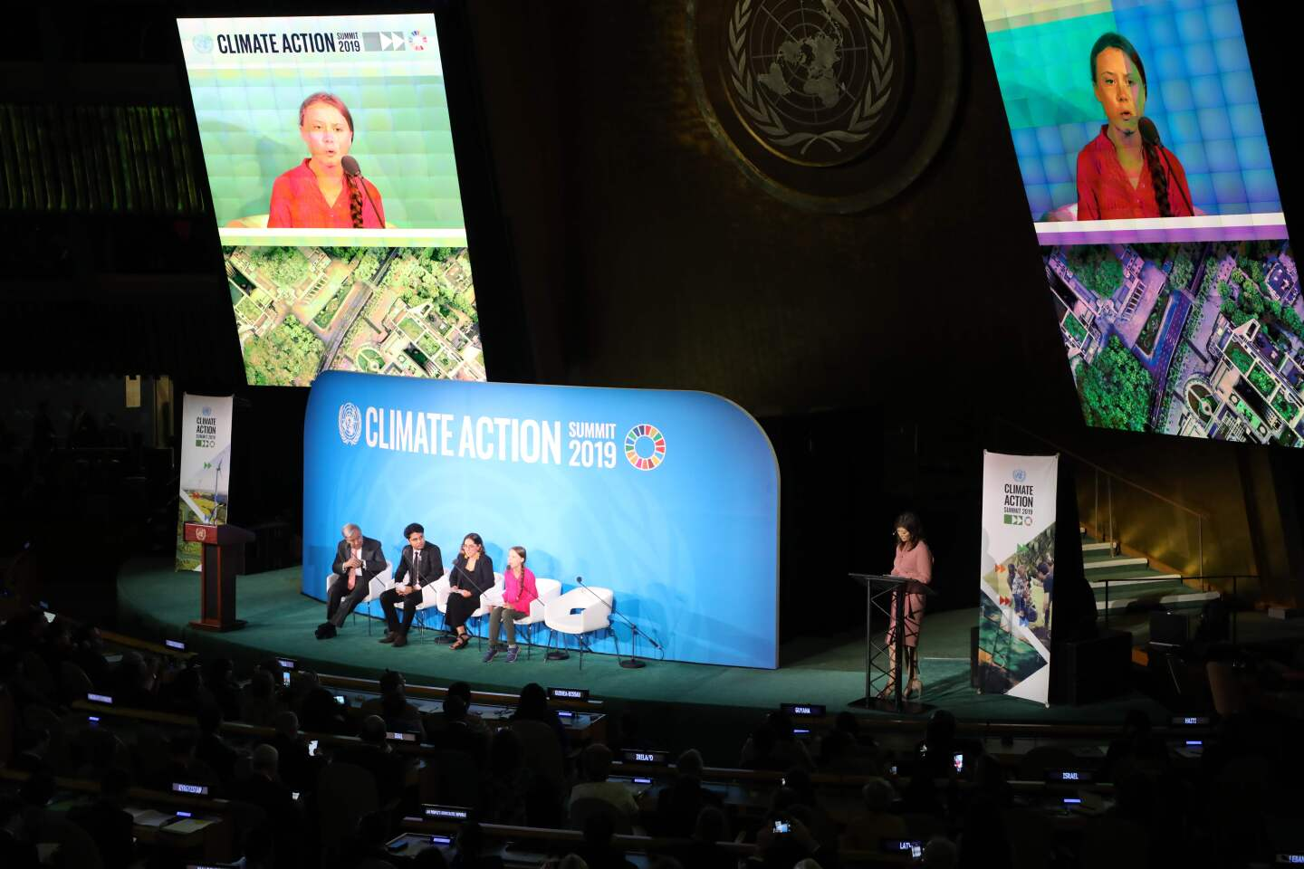 Youth Climate activist Greta Thunberg (R) speaks during the UN Climate Action Summit on September 23, 2019 at the United Nations Headquarters in New York City. (Photo by Ludovic MARIN / AFP)LUDOVIC MARIN/AFP/Getty Images ** OUTS - ELSENT, FPG, CM - OUTS * NM, PH, VA if sourced by CT, LA or MoD **