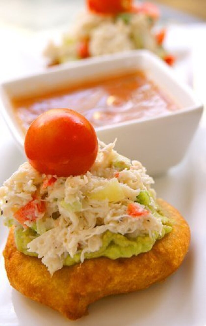 "Crab Avocado Sopes are among the popular ""small plates"" at Finch's Bistro & Wine Bar."