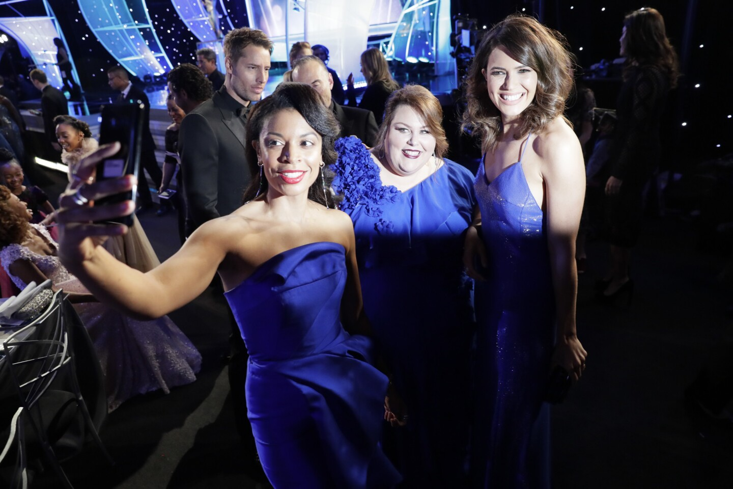 "Susan Kelechi Watson, Chrissy Metz and Mandy Moore from the show ""This Is Us"" hang out during the cocktail hour of the 24th Screen Actors Guild Awards at the Los Angeles Shrine Auditorium and Expo Hall."