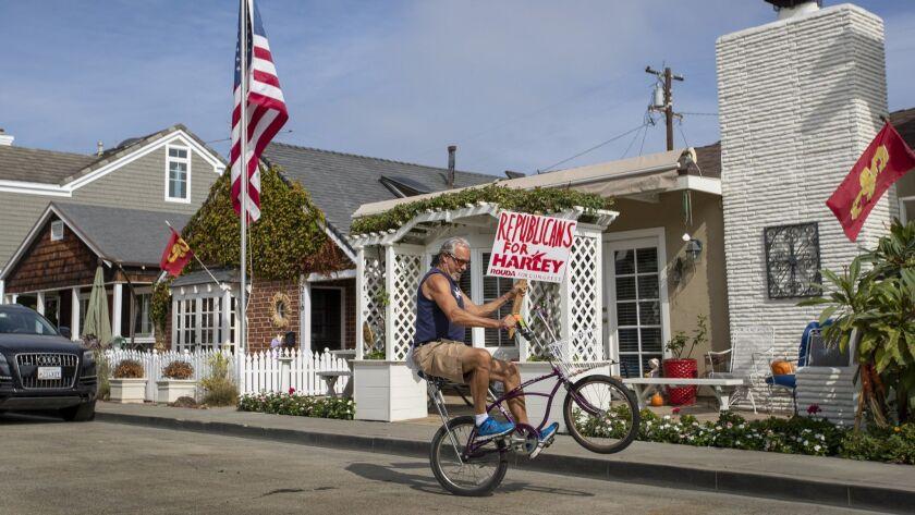 NEWPORT BEACH, CALIF. -- MONDAY, OCTOBER 29, 2018: Harley Rouda volunteer Dennis Bress, who is a dem