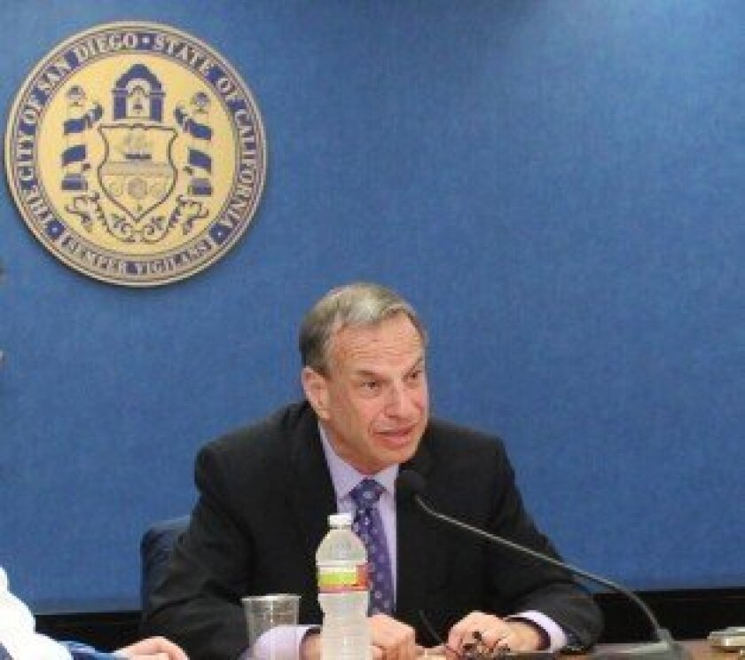 San Diego Mayor Bob Filner fielded questions from reporters earlier this year during one of his monthly media roundtable events at City Hall. File
