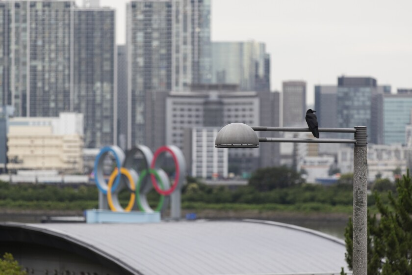 A crow perches on a light pole near the statue of the Olympics rings in Tokyo on Thursday, July 1, 2021. (AP Photo/Hiro Komae)