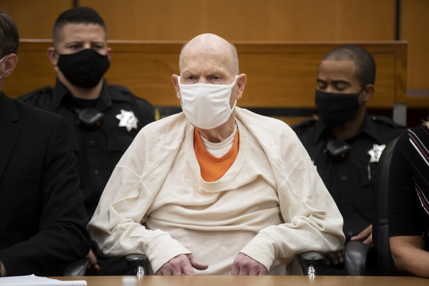 Joseph James DeAngelo Jr., known as the Golden State Killer, in court before sentencing.